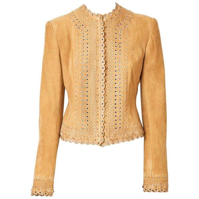 John Galliano for Christian Dior Suede Jacket with Scalloped Detail For Sale