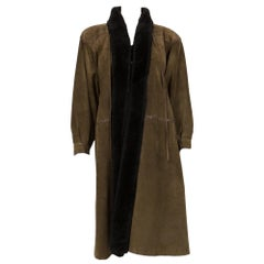 1970s Yves Saint Laurent Kaki Green  Shearling Coat
