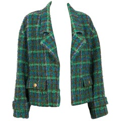 Chanel Green  and Blue Tweed Boucle Oversized Jacket