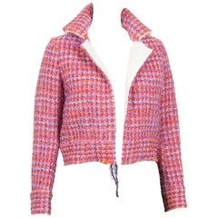 Yohji Yamamoto Pink Boucle Wool Check Jacket