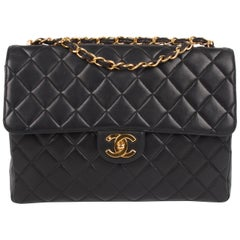 Chanel Vintage Timeless Jumbo Single Flap Bag - black/gold
