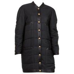 1990 Chanel Black Silk Padded Long Coat