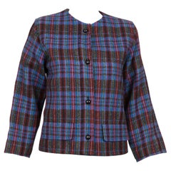 1980s Yves Saint Laurent Blue Check Box Jacket