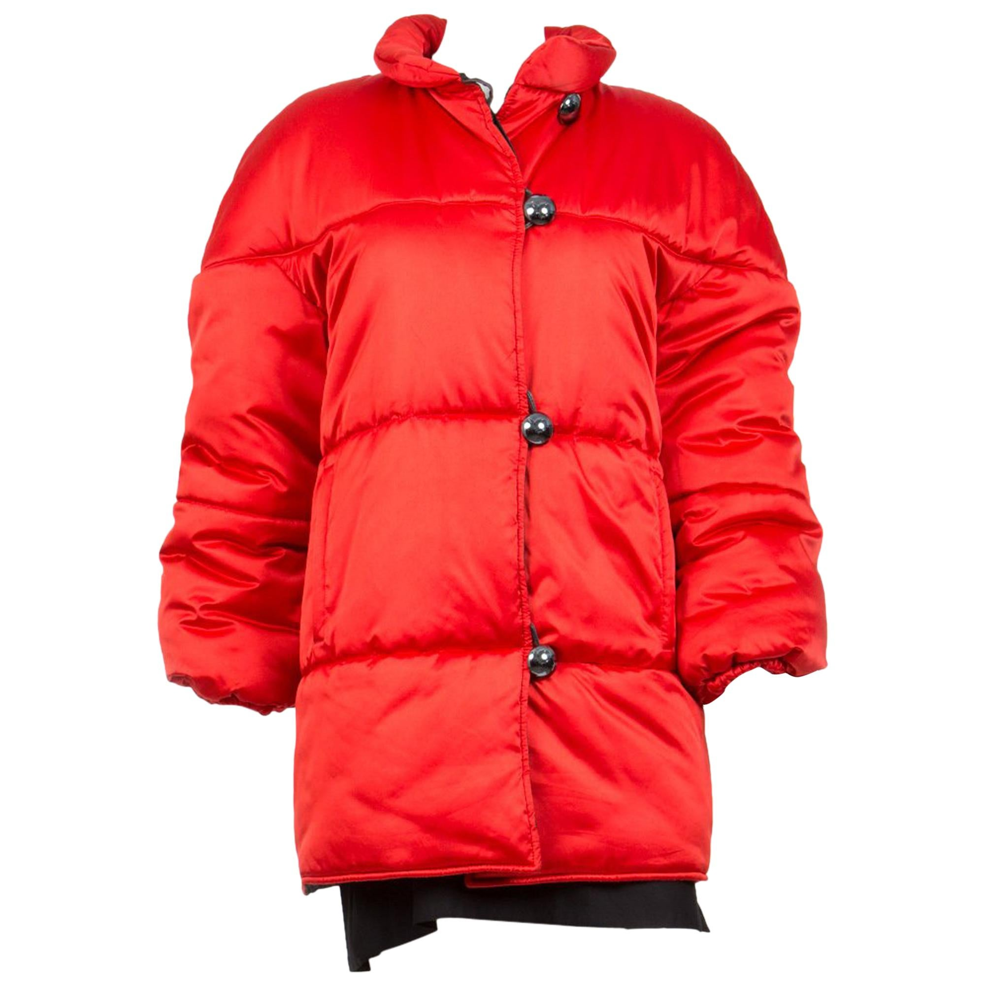 Yves Saint Laurent Red Silk Cocoon Coat