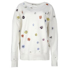 Faith Connexion White Distressed Cotton Sweatshirt W/ Jewel Embellishment Sz L