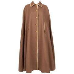 Louis Feraud Lapidus Nut Wool Cape Coat
