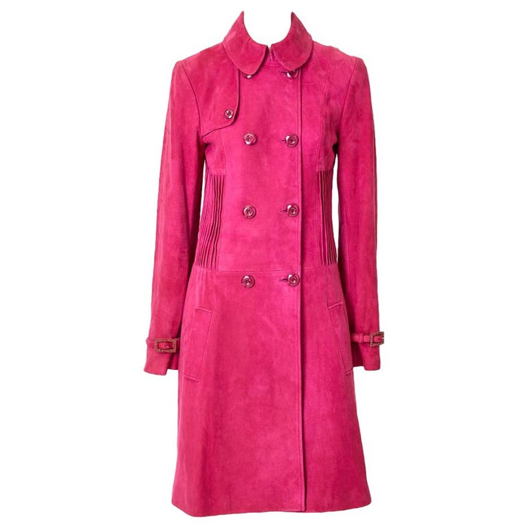 John Galliano for Christian Dior Fuchsia Double Breasted Suede Coat For Sale
