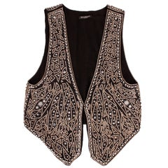 Balmain black linen studded vest