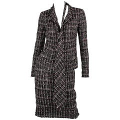 Chanel Suit 3-pcs Jacket, Skirt & Tie - black/white/grey/red