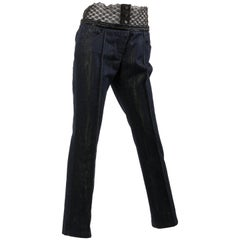 Chanel Jeans Denim Pants - blue/gold & black lace