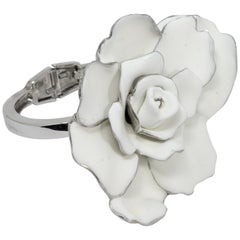 Oscar de la Renta Big Bold White Satin Rose Hinged Bracelet in Silvertone