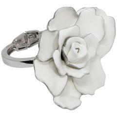 Oscar de la Renta Big Bold White Satin Rose Hinged Bracelet in Silvertone