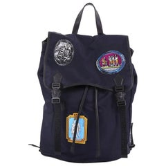 Versace Double Buckle Backpack Patch Embellished Nylon