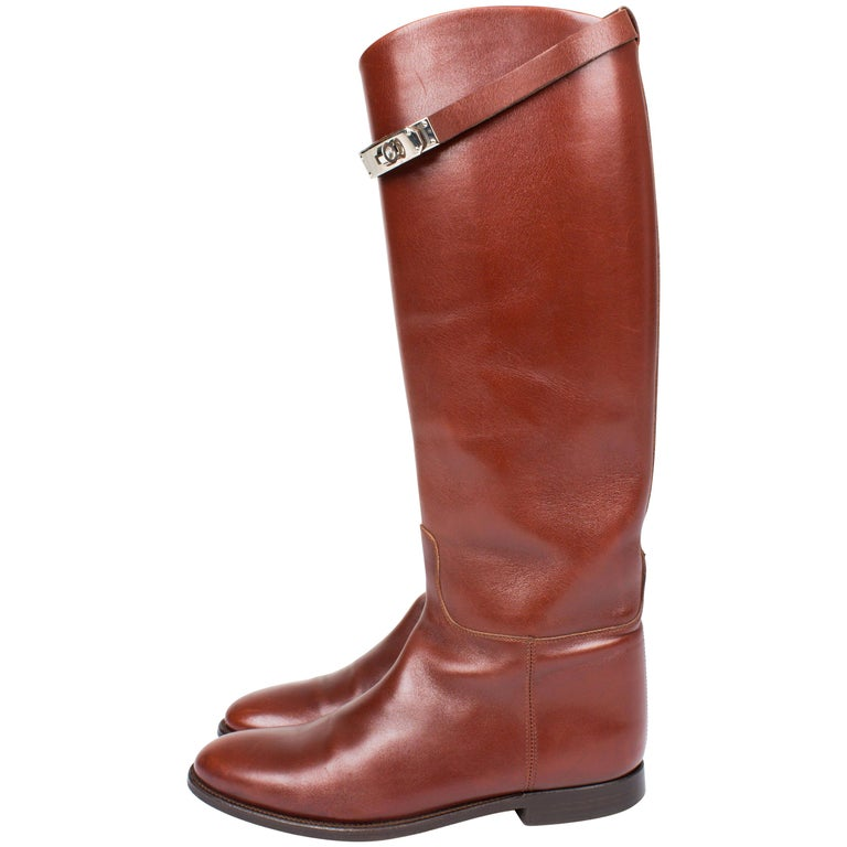 Hermès Jumping Riding Equestrian Leather Boots - brown For Sale