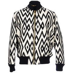 New Versace Men's Wool White Black Geometric Design Padded Bomber Jacket 52 - 42