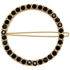 Oscar de la Renta Round Pave Black Crystal Dress/Hair Clip in Gold