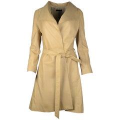 The Row Beige Leather Wrap Coat W/ Belt Sz 8