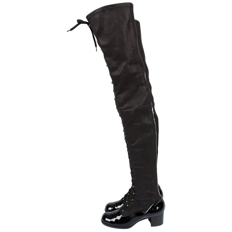 619b97ba01ec Chanel Thigh High Lace-up Boots - black For Sale at 1stdibs