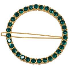 Oscar de la Renta Round Pave Green Crystal Dress/Hair Clip in Gold
