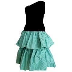 Christian DIOR Black Velvet Silk one Shoulder Top, Flounced Skirt - Unworn, New
