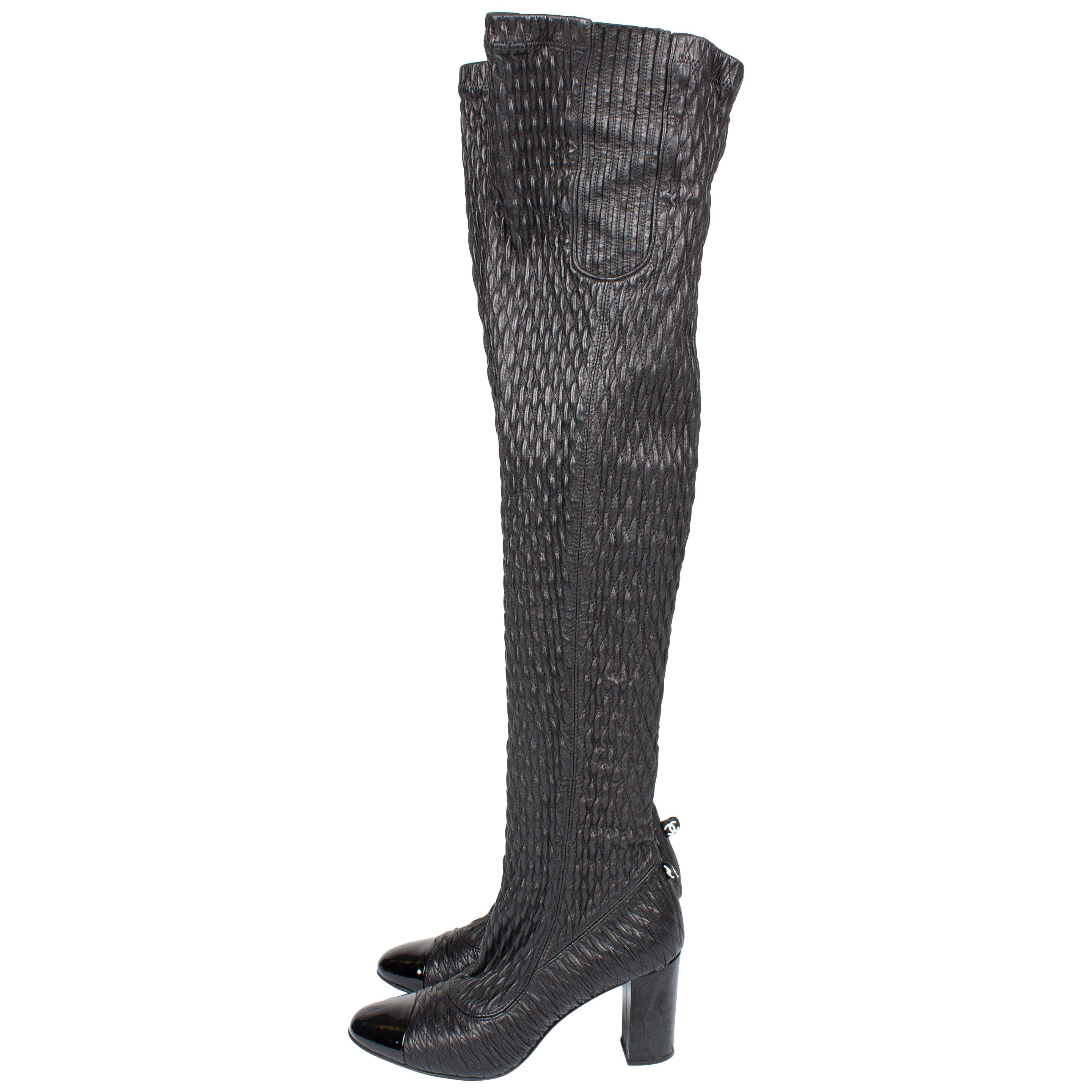 4300953e8bb Chanel Thigh High Lace-up Boots - black For Sale at 1stdibs