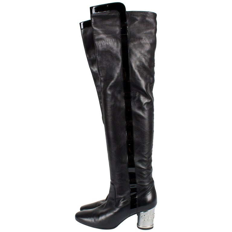 f06a0f65fb8 Chanel Overknee Boots Runway 2007 - black silver For Sale. These over-knee  ...
