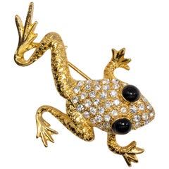 Oscar de la Renta Gold Frog Pin Brooch with Pave Clear Crystals, Black Cabochons