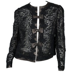 Valentino Leather and Lace Jacket - black