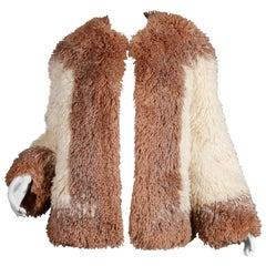 1980s Judith Ann Vintage Heavy + Warm Wool Shaggy Faux Fur Jacket or Coat