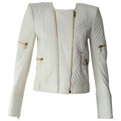 Balmain White Leather Jacket