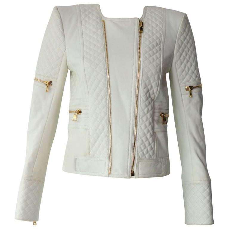 6c6471ee Balmain White Leather Jacket For Sale at 1stdibs
