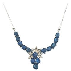 Art Deco Sapphire and Diamond necklace set in white gold and palladium