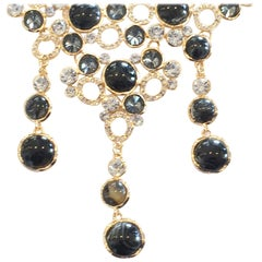 Oscar De La Renta Necklace of black agate and diamantes