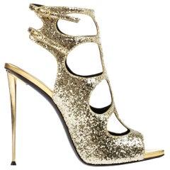 New Giuseppe Zanotti Gold Sequin Glitter Spike Heel Shoes Sandals It. 36 - US 6