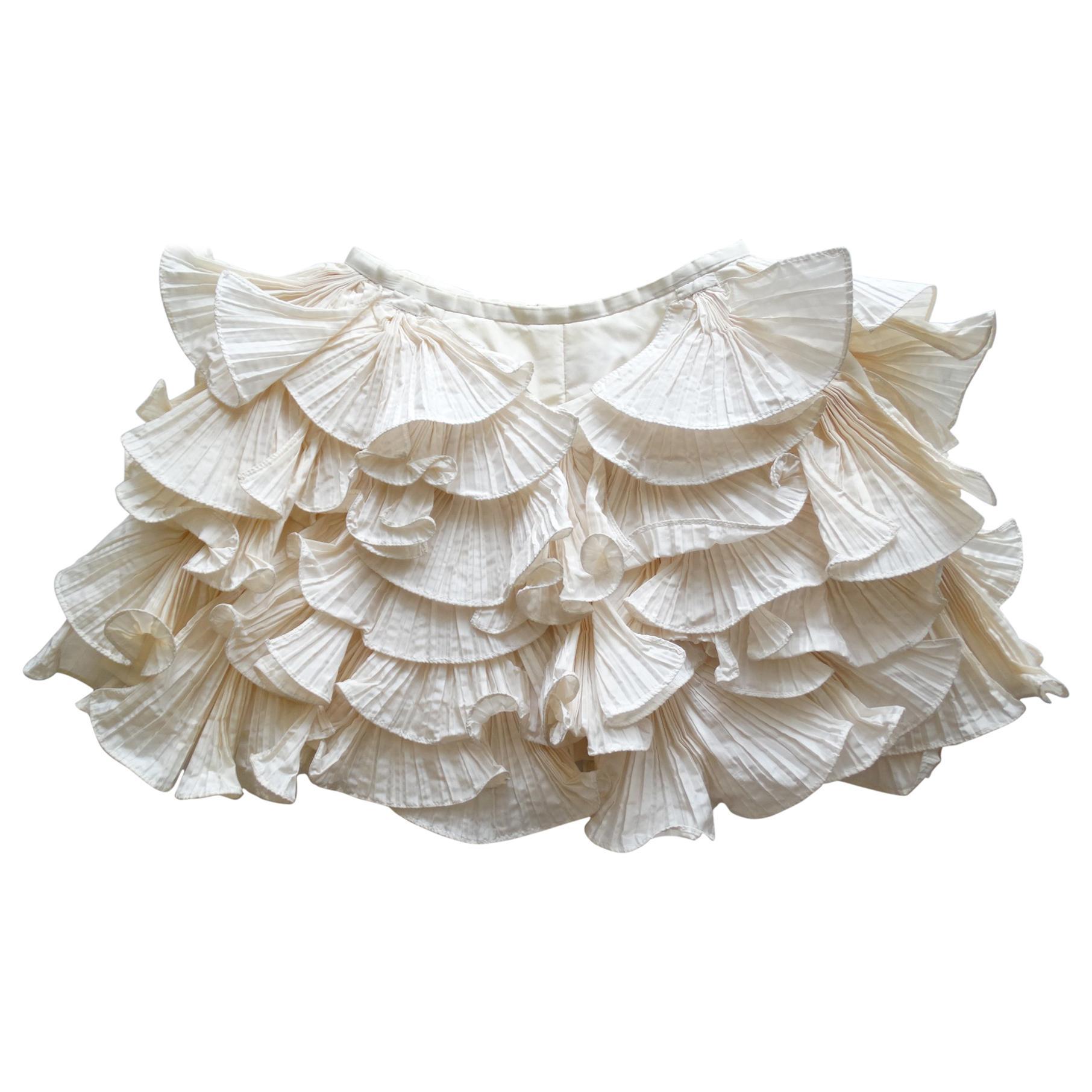 Bernard Perris 1980s Couture Cream Silk Crepe Shorts