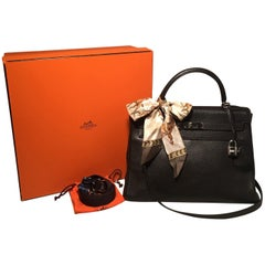 Hermes Dark Brown Clemence Leather 32cm Kelly Bag PDH