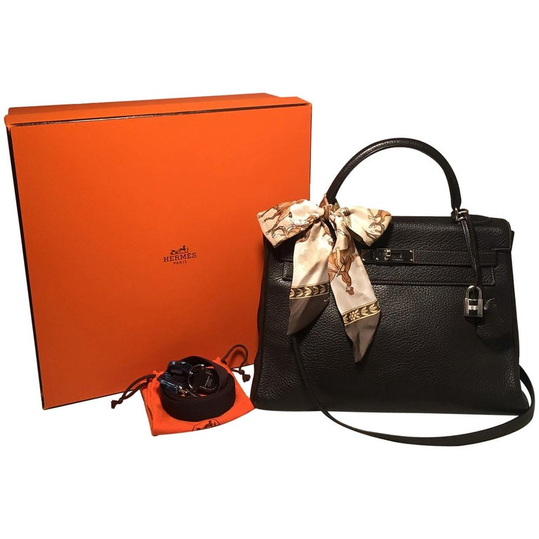 5fa8c7e3d187 Hermes Dark Brown Clemence Leather 32cm Kelly Bag PDH For Sale at ...