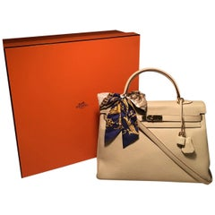 Hermes Cream Clemence Leather Ghw 35cm Kelly Bag