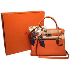 Hermes Orange Togo Leather PHW 28cm Kelly Bag