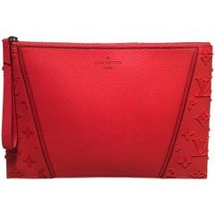 Wie neue Louis Vuitton rot Leder und Velours Monogramm Wristlet Clutch Tasche