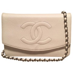 Chanel White Caviar Leather Wallet on Chain WOC Clutch Shoulder Bag