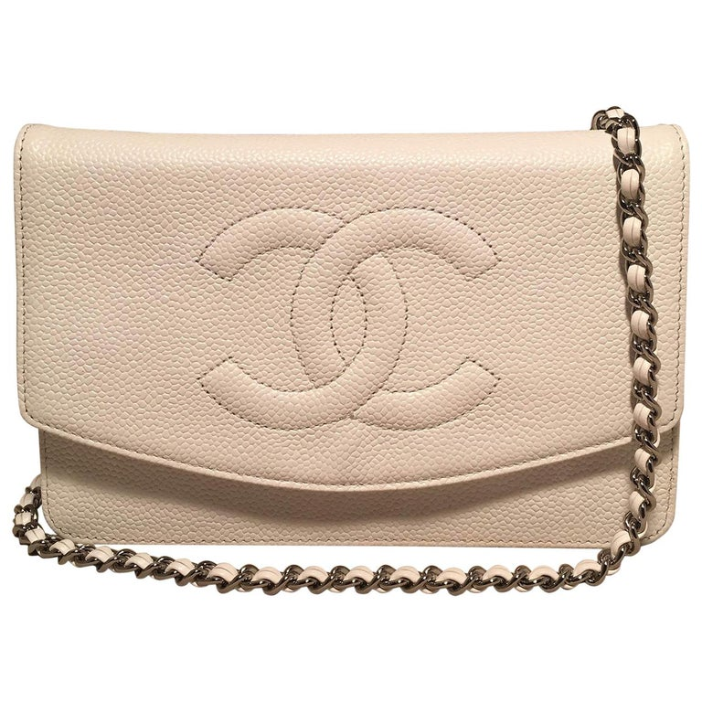 Chanel White Caviar Leather Wallet on Chain WOC Clutch Shoulder Bag For Sale
