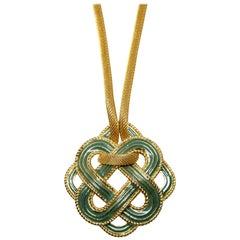 1970's LANVIN turquoise enamel and gilt metal modernist pendant necklace