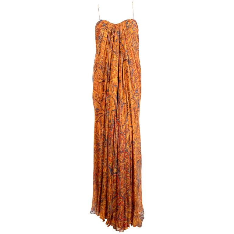Alexander McQueen Unworn paisley silk chiffon strapless dress, 2009 For Sale