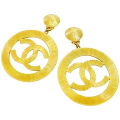 Chanel Vintage Jumbo Gold Dangling Earrings