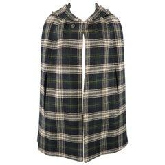 SAINT LAURENT Size 8 Blue & Green Plaid Wool Hooded Cape