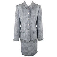 ESCADA Size 12 Light Blue Cashmere Tweed Fringe Trim Skirt Suit