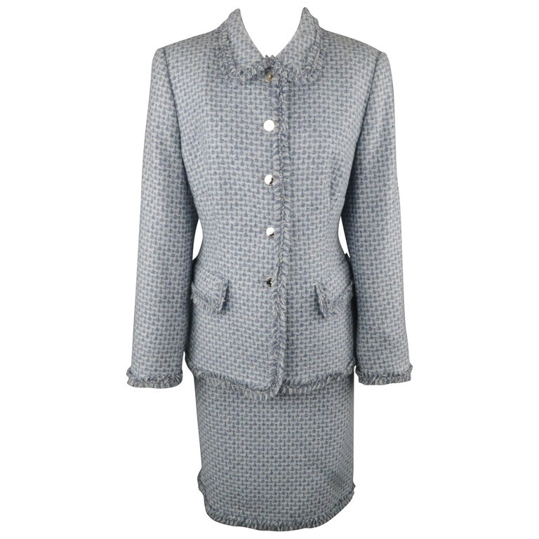ESCADA Size 12 Light Blue Cashmere Tweed Fringe Trim Skirt Suit For Sale
