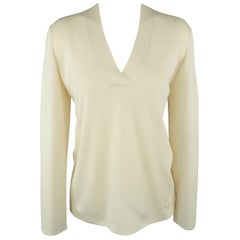 AKRIS Size L Cream Silk Knit V Neck Pullover Sweater
