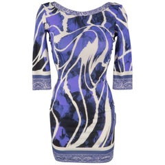 ROBERTO CAVALLI Size 2 Purple Print Bandana Trim Mini Dress